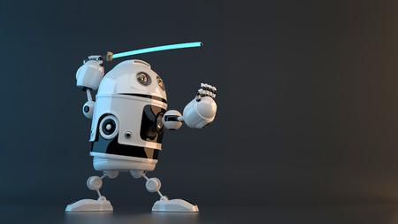 katana sword: Robot with Katana sword. Technology concept.