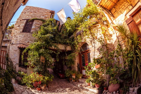 pano: Cozy courtyard in Lefkara (Pano Lefkara) village. Limassol District, Cyprus