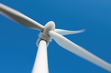Close up of a wind turbine producing alternative energy Banco de Imagens