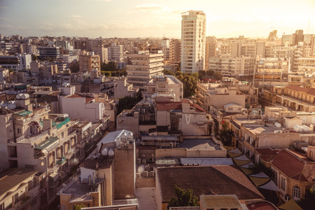 Panorama view of southern part of Nicosia, capital and largest city on the island of Cyprus