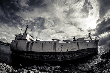 A shipwreck on the Paphos Coast, Cyprus