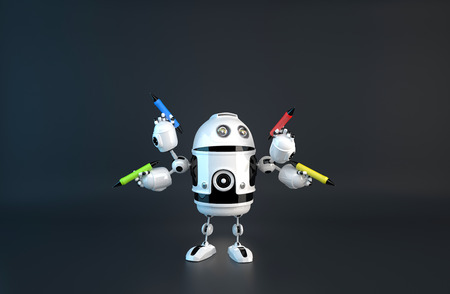 tasking: Four-armed robot with pencils. Multitasking concept.  Stock Photo