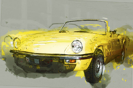 cabriolet: Vintage yellow cabriolet. Drawn illustration.