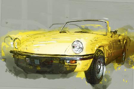 car drawing: Vintage yellow cabriolet. Drawn illustration.