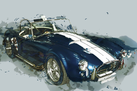 motor show: Vintage sport car drawn illustration.