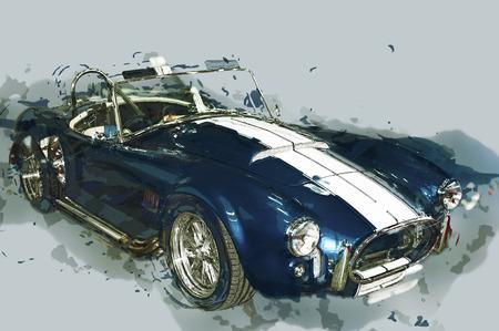 car show: Vintage sport car drawn illustration.