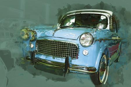 motor car: Vintage car drawn illustration.