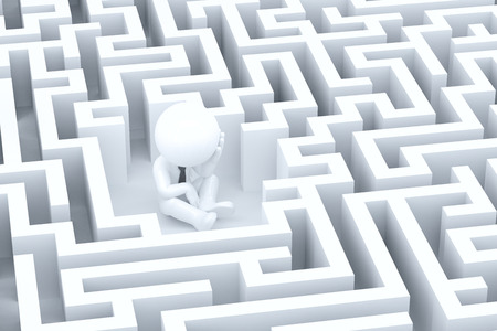 desperate: A desperate businessman in a maze. 3d illustration