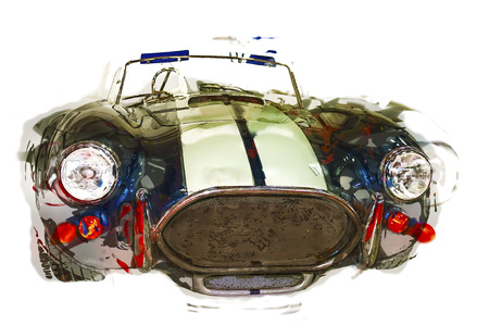 classic cars: Abstract car illustration. Sportive vintage cabriolet. Isolated.
