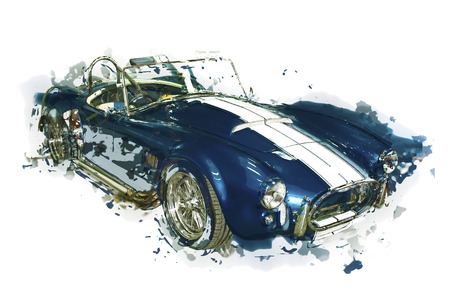 cabriolet: Abstract car illustration. Sportive vintage cabriolet, side view. Isolated.
