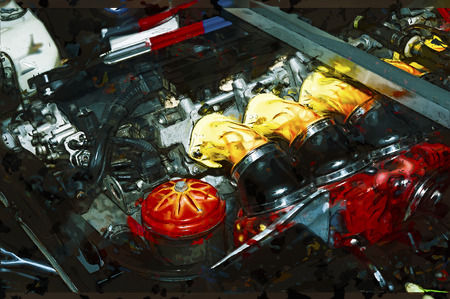 an injector: Abstract car engine illustration.
