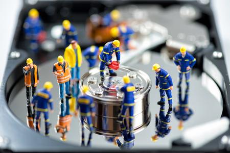 HDD の修理。技術コンセプト。マクロ写真 写真素材