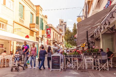 thoroughfare: NICOSIA - APRIL 13 : Ledra street, a major shopping thoroughfare in central Nicosia on April 13, 2015