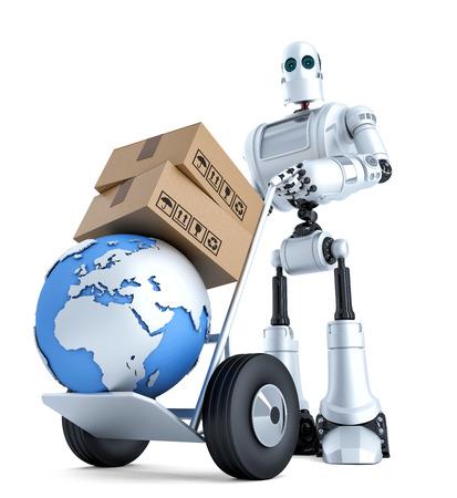 Robot con carro de mano y la pila de cajas. Aislado en blanco.