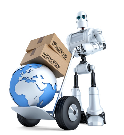 robot: Robot con carro de mano y la pila de cajas. Aislado en blanco.