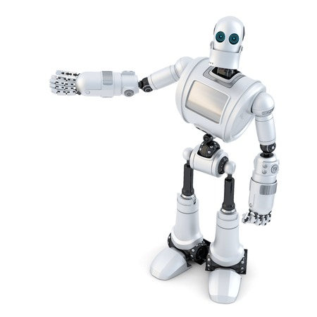 Robot showing an invisible object. Isolated on white. Standard-Bild