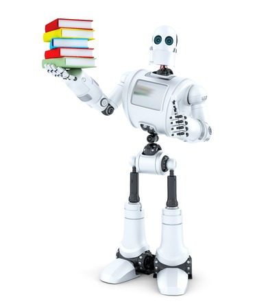 wisdom: Robot with a pile of books. Isolated on white .