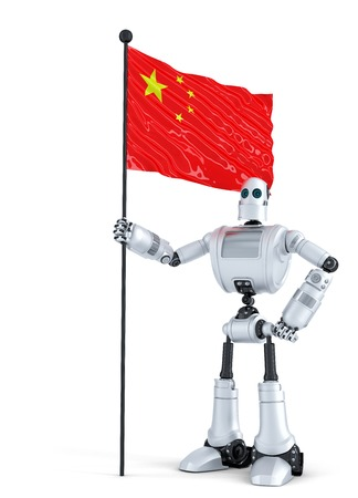android robot: Android Robot standing with flag of China. Isolated over white.