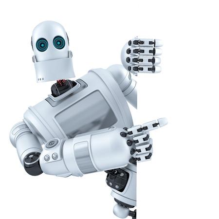 Robot que señala en el banner. Aislado en blanco.