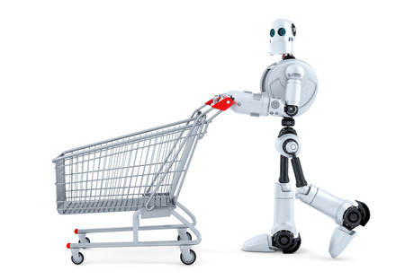cart: Robot walking with shopping cart. Isolated.  Stock Photo