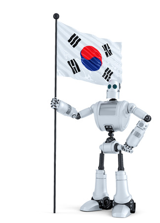 android robot: Android Robot standing with flag of South Korea. Isolated.  Stock Photo