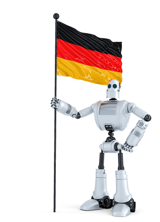 android robot: Android Robot standing with flag of Germany. Isolated.  Stock Photo
