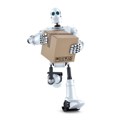 runs: Robot runs with huge parcel box. Isolated on white.