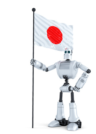 chrome man: Android Robot standing with flag of Japan. Isolated on white.