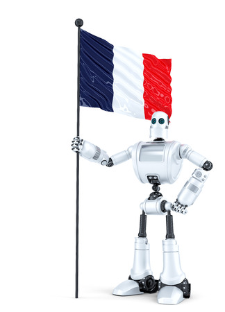 android robot: Android Robot standing with flag of France. Isolated on white.