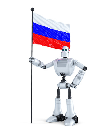 android robot: Android Robot standing with flag of Russia. Isolated on white.