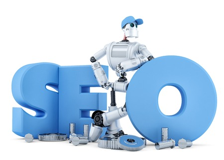 SEO ロボット。技術コンセプト。白で隔離されました。