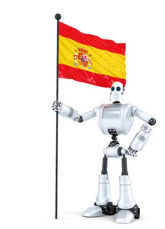 android robot: Android Robot standing with flag of Spain. Isolated on white.  Stock Photo
