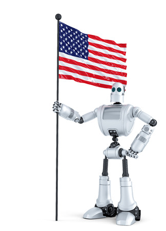 android robot: Android Robot standing with flag of USA. Isolated on white.  Stock Photo