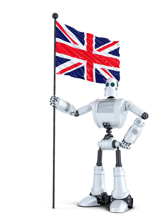 android robot: Android Robot standing with flag of UK. Isolated on white. Contains clipping path
