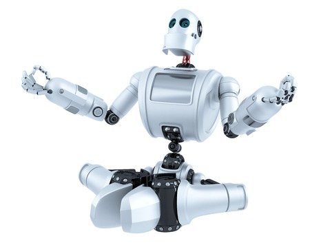 Meditating Robot. Technology concept. Isolated over white. Contains clipping path