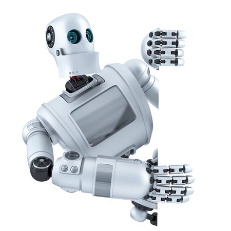 3d Robot with blank banner. Isolated over white. Contains clipping path Banco de Imagens