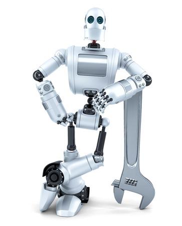 レンチでロボット。技術コンセプト。白で隔離されました。クリッピング パスが含まれています