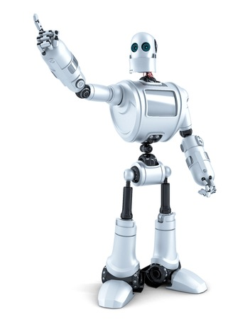 invisible object: Robot pointing at invisible object. Isolated over white. Contains clipping path