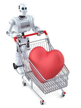 web robot: Robot with shopping cart and huge red heart in it. Isolated over white.