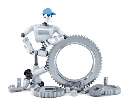 Engineer robot. Technology concept. Isolated over white.  Stock Photo