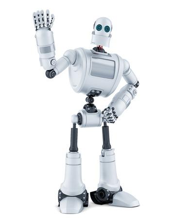 ロボットを振ってこんにちは。白で隔離されました。