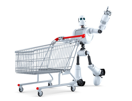 white bacground: Robot with shopping cart pointing at invisible object. Isolated over white.