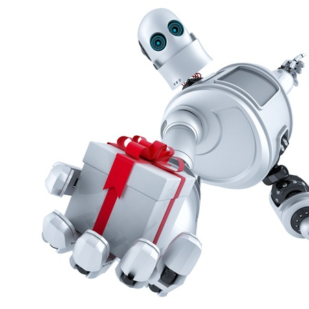 giving gift: Robot giving a gift box. Isolated over white.  Stock Photo