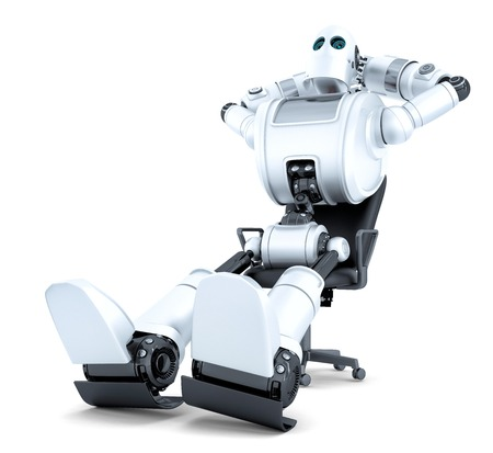 sit: Robot relaxing in office chair. Isolated over white.