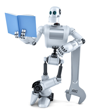 isolated over white: Robot reading book. Isolated over white.  Stock Photo