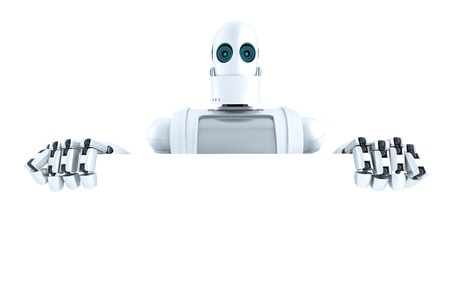 Robot holding a blank banner. Isolated over white.