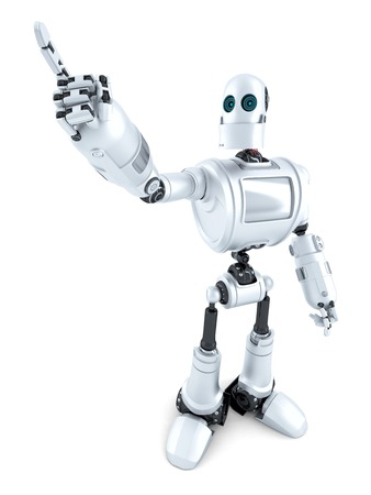 futurictic: Robot pointing on something. Isolated over white.  Stock Photo
