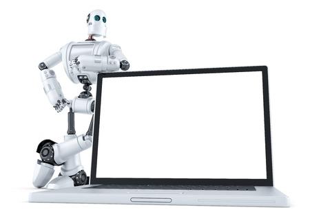 Robot avec un ordinateur portable en blanc de l'écran. Isolé sur blanc.