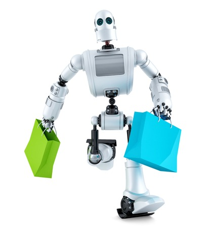 Robot running with shopping bag. Isolated over white.