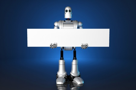 electronic: 3d Robot holding a blank banner. Technology concept.